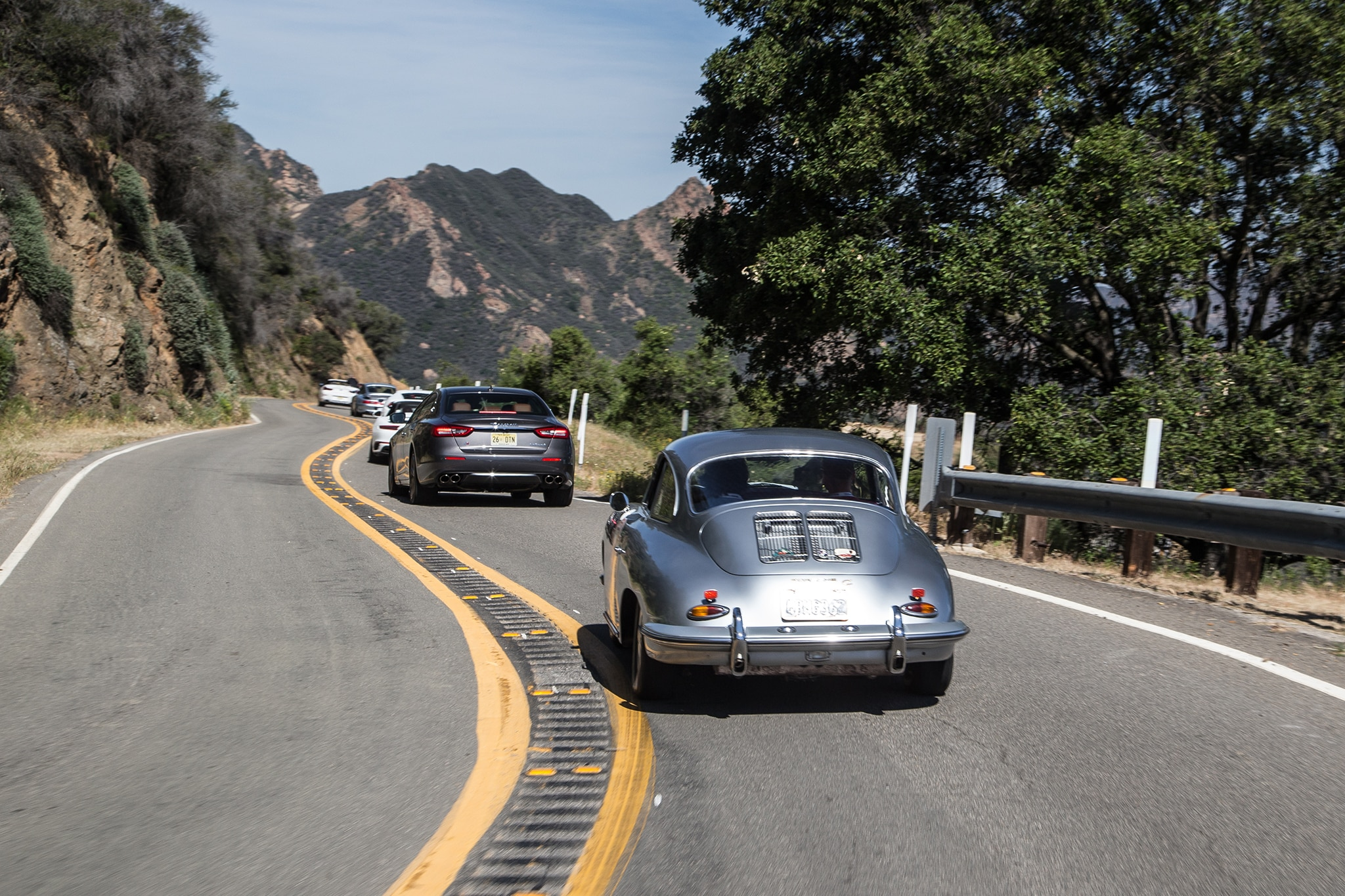 1964 Porsche 356 C Rear View In Motion 04