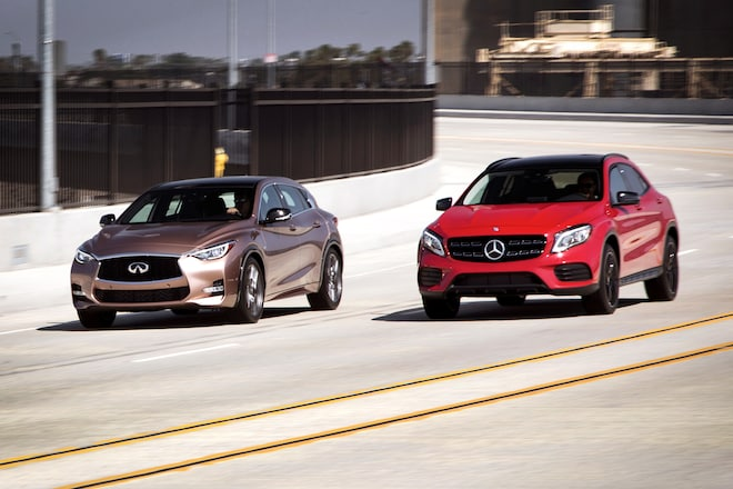 Our four seasons 2017 infiniti qx30 sport takes on the for 2017 mercedes benz gla250 4matic review