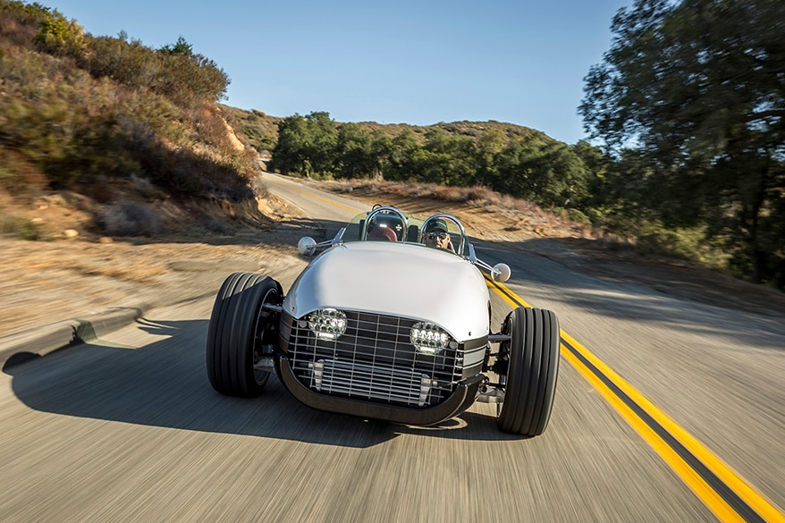 2017 Vanderhall Venice Roadster Front View In Motion