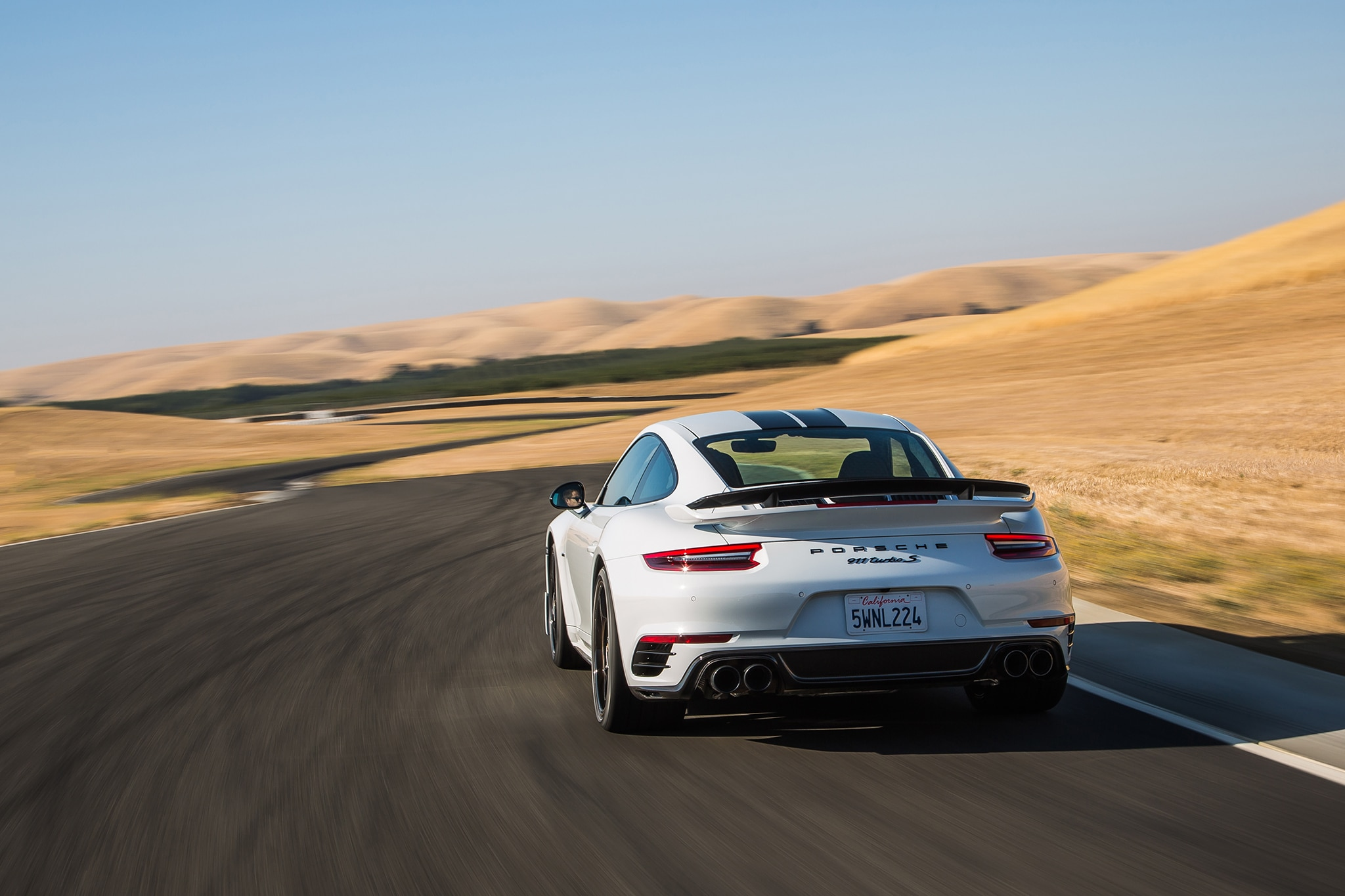 2018 Porsche 911 Turbo S Exclusive Rear View In Motion 03