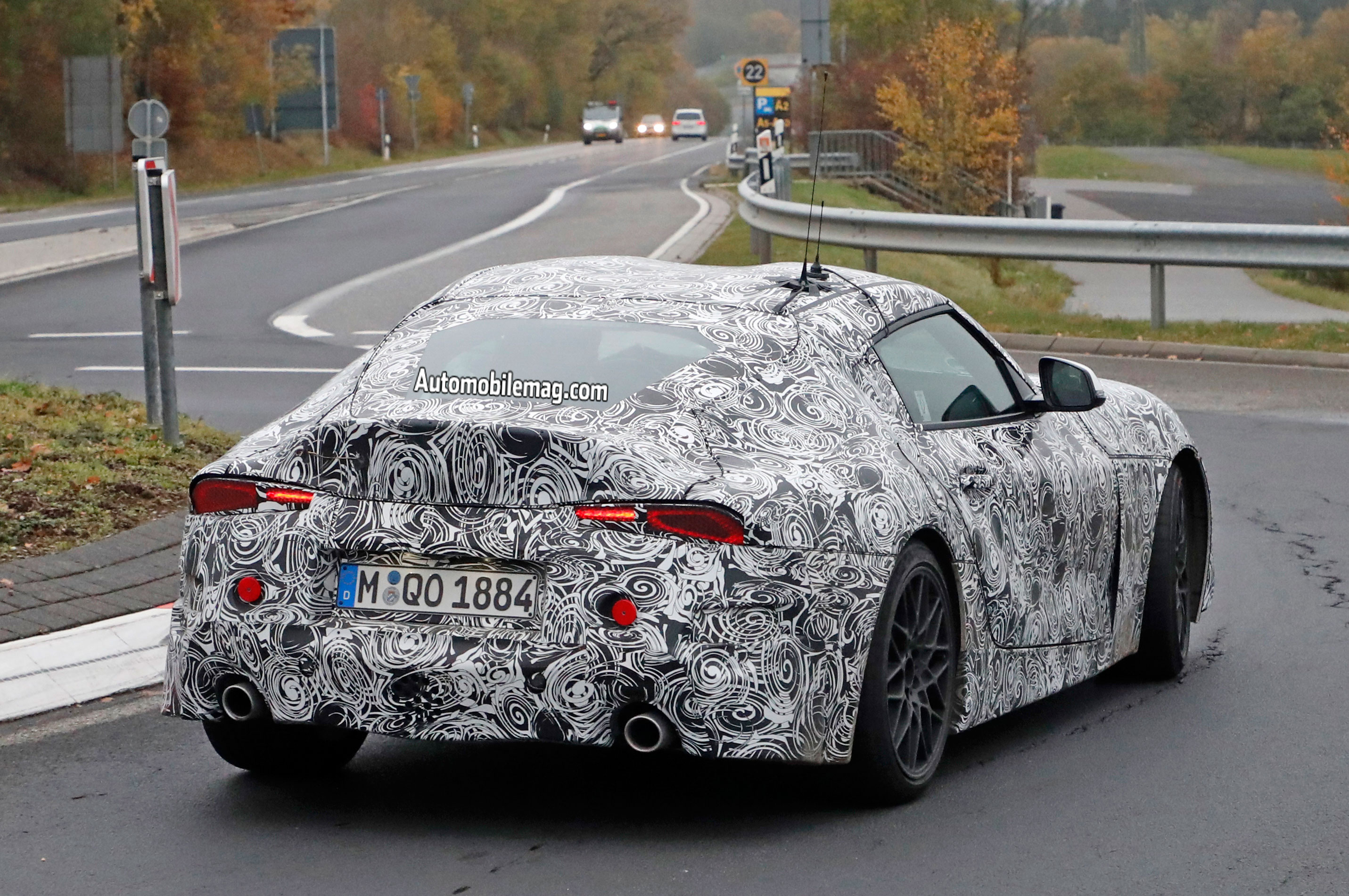 Toyota Supra Shows Headlights And Taillights Automobile