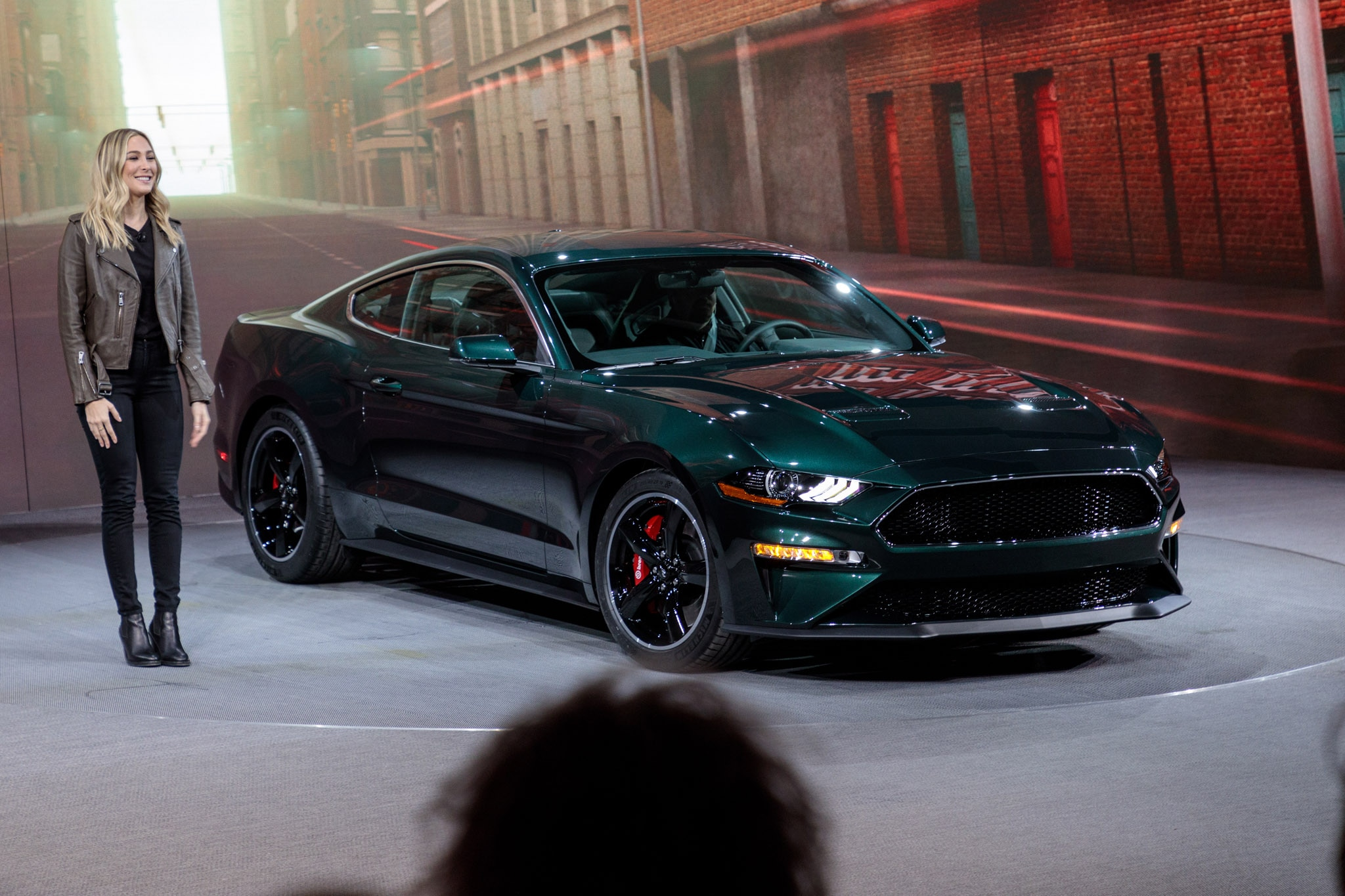 molly mcqueen drives up in 2019 ford mustang bullitt. Black Bedroom Furniture Sets. Home Design Ideas