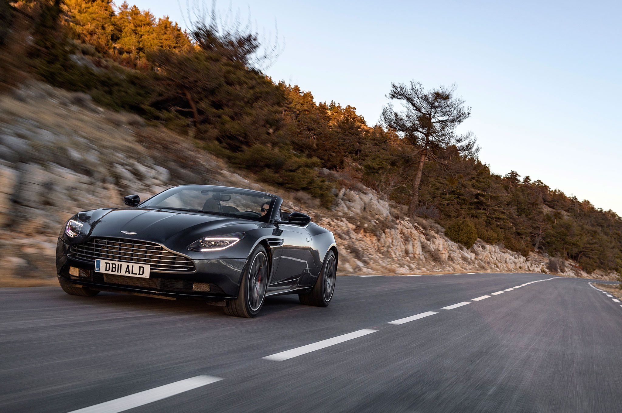 2019 Aston Martin DB11 Volante Magnetic Silver Front View With Road