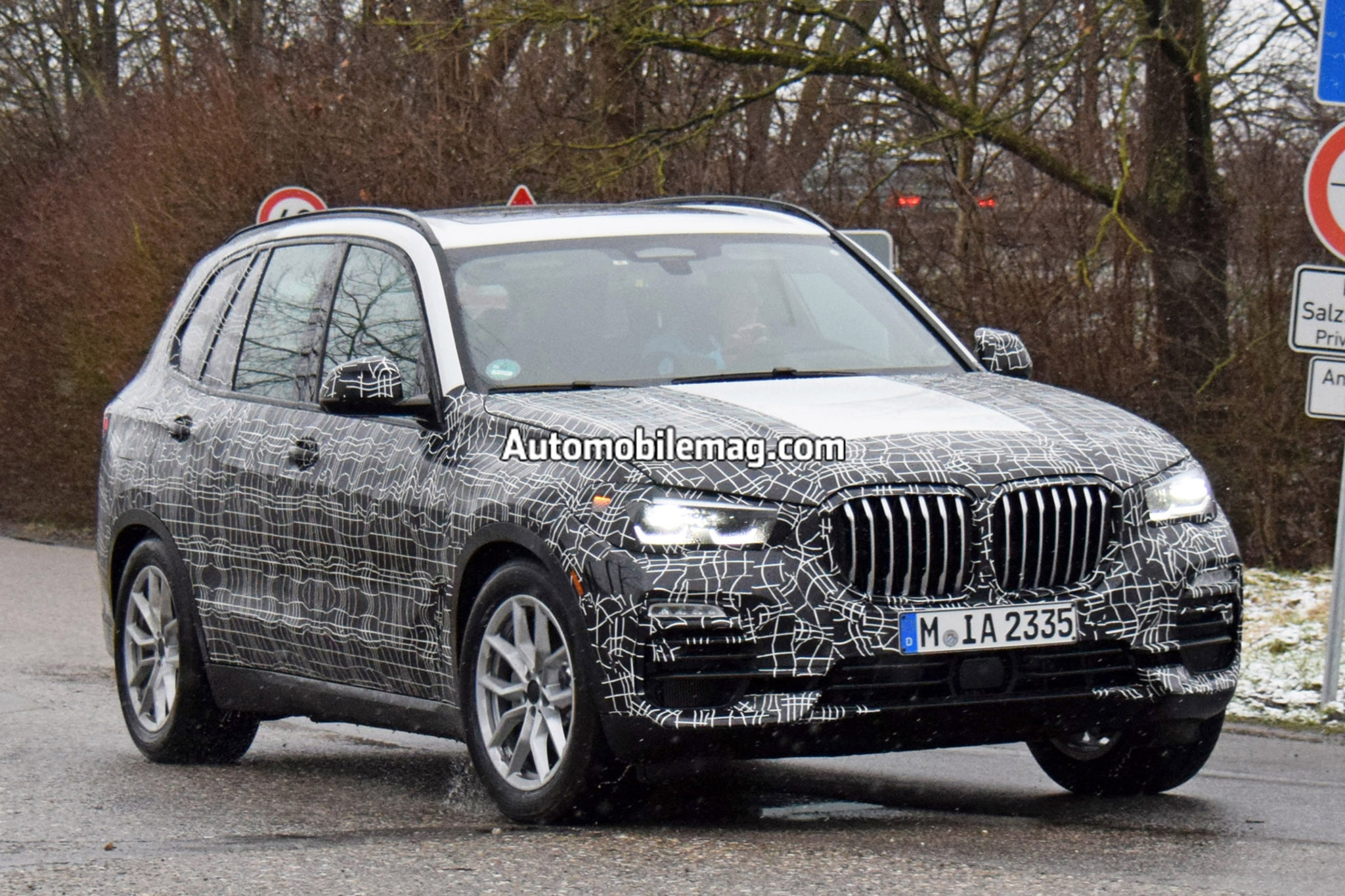 bmw x5 prototype shows off x7 inspired grille and it 39 s huge automobile magazine. Black Bedroom Furniture Sets. Home Design Ideas