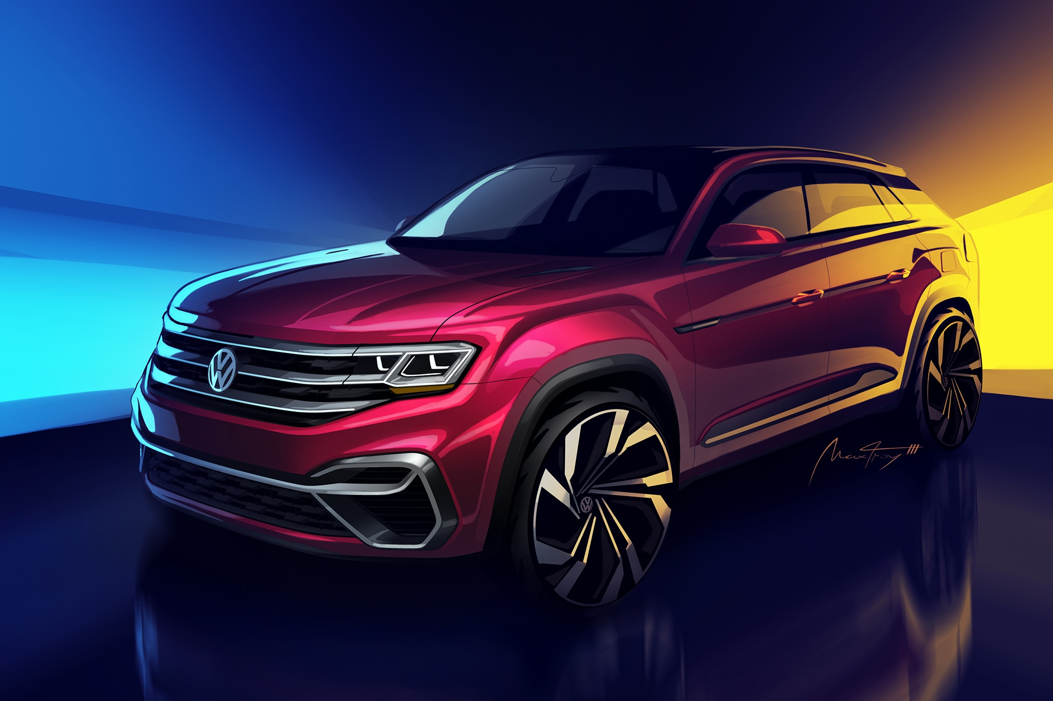 Volkswagen showing '5-passenger Atlas' concept in NY