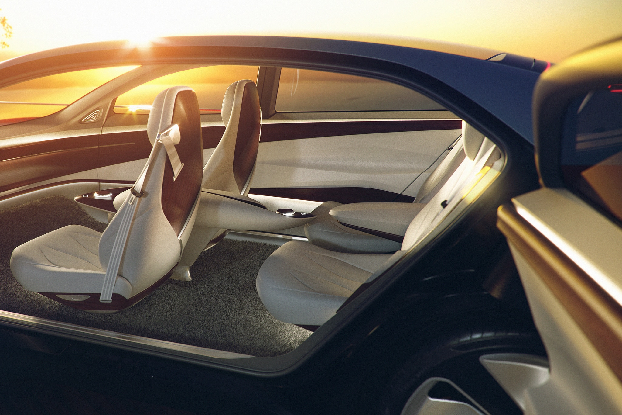 There\u0027s a white illuminated VW badge on the grille and suicide doors with no B-pillars blocking the entrance for getting in and out of the vehicle. & Futuristic Volkswagen I.D. Vizzion Concept Reveals Its Suicide Doors ...
