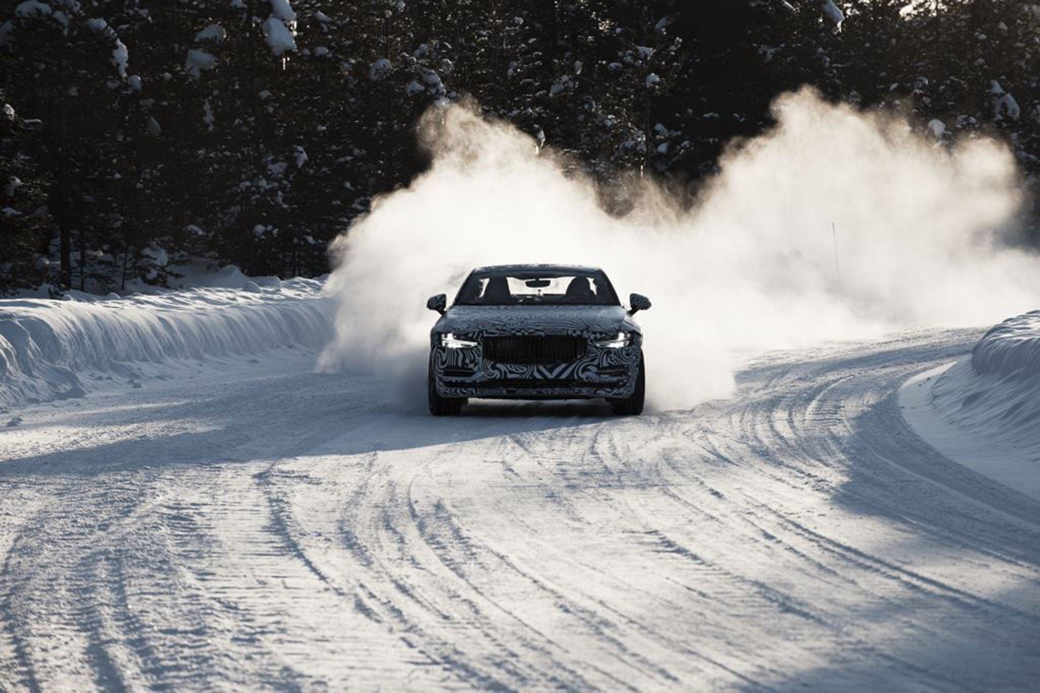 Polestar 1 goes drifting during cold-weather testing