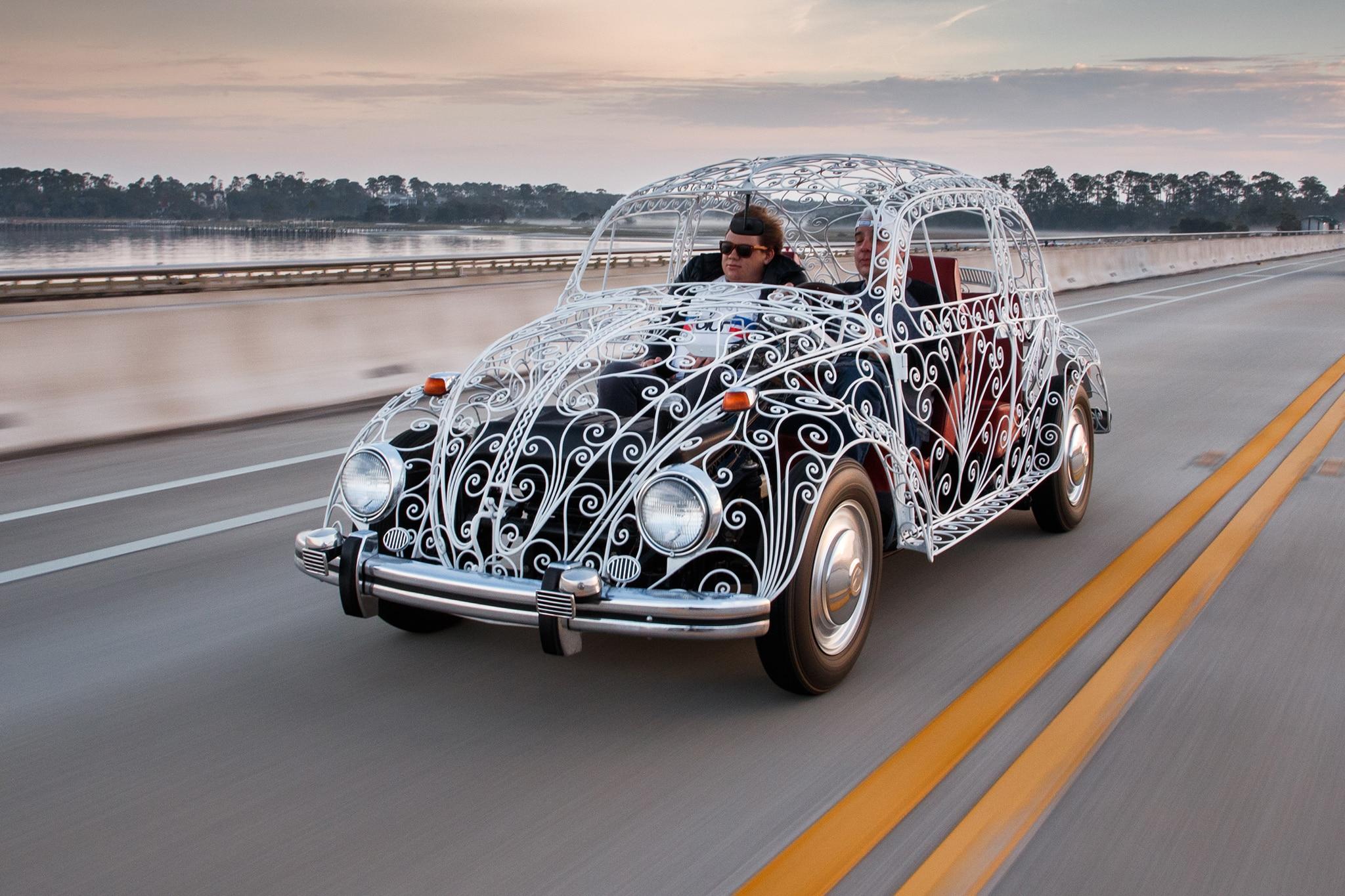 Maximum Airflow Driving A Wrought Iron Vw Wedding Beetle