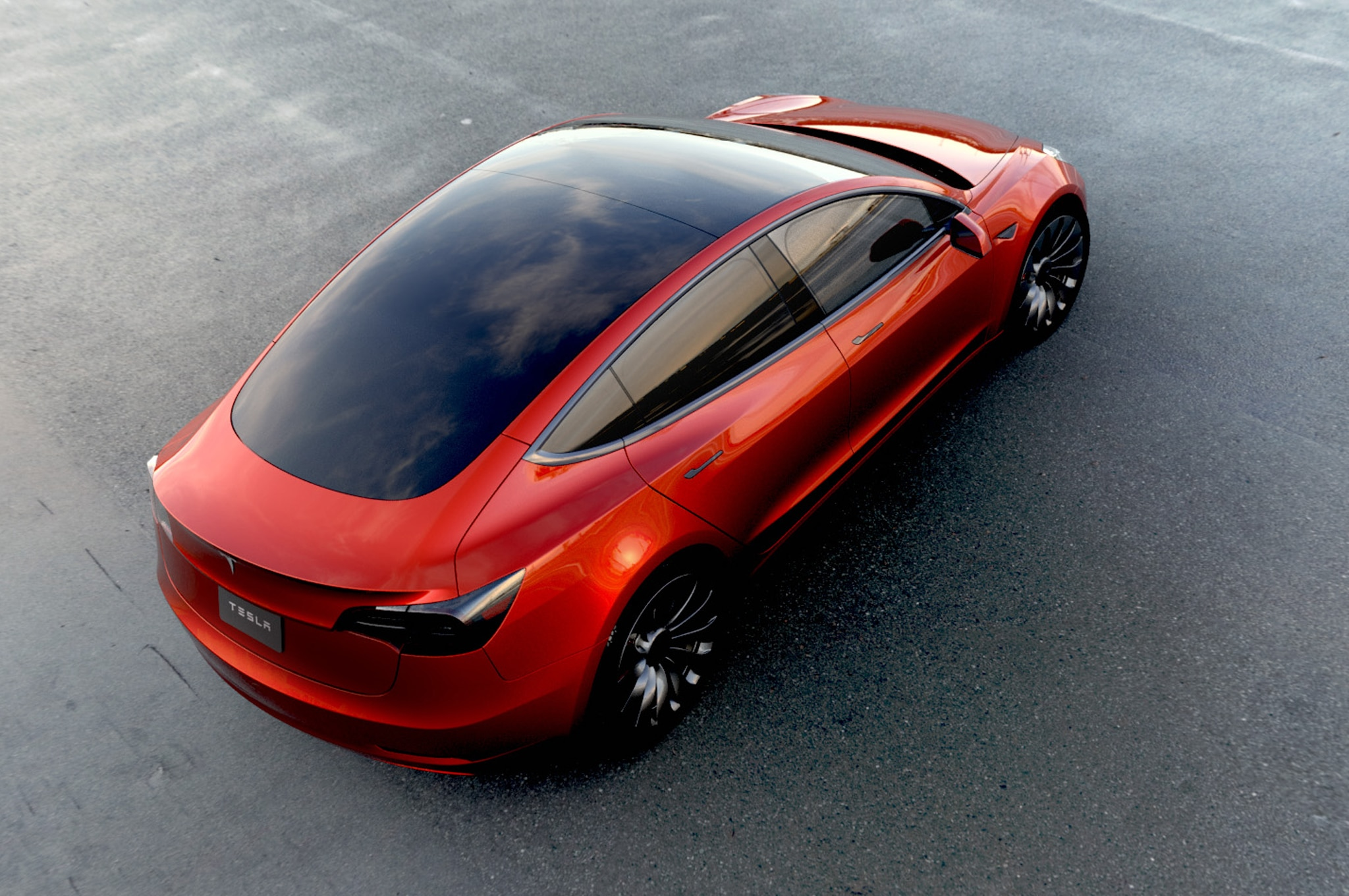 Tesla Model 3 Rear View Above In Red