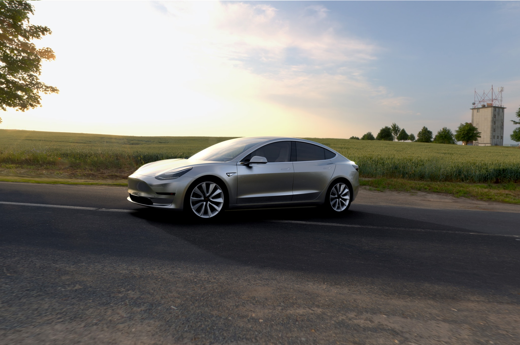 Tesla Model 3 Side Front View Parked With Scenery