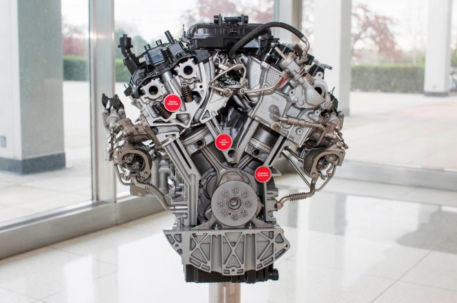 2017 Ford F 150 3 5 liter EcoBoost engine close up