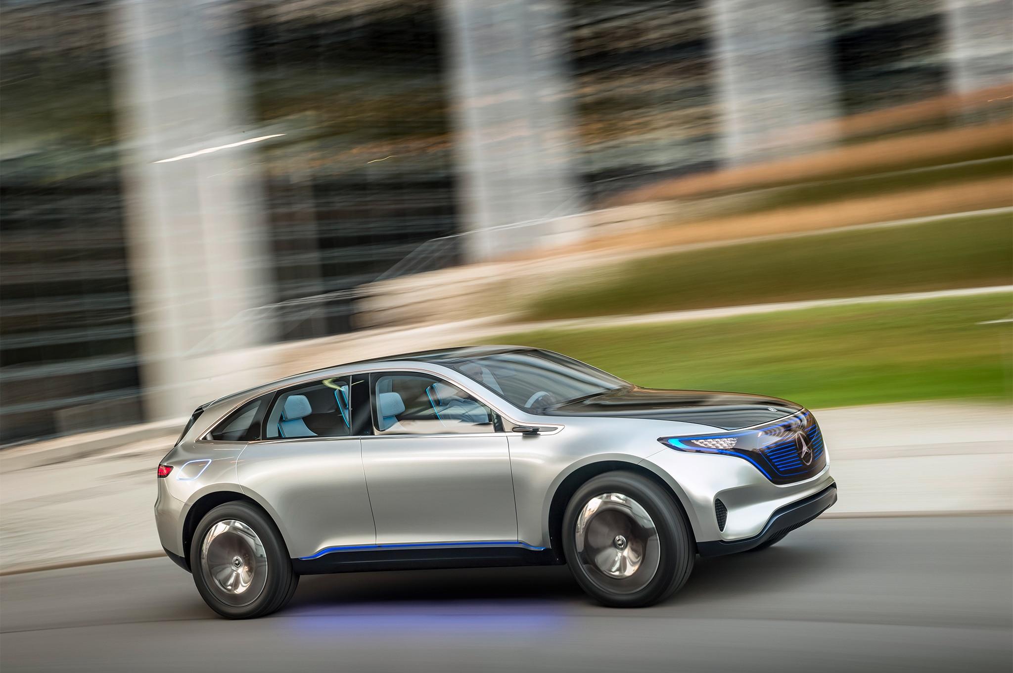 Mercedes Benz Generation EQ Electric Car Side In Motion