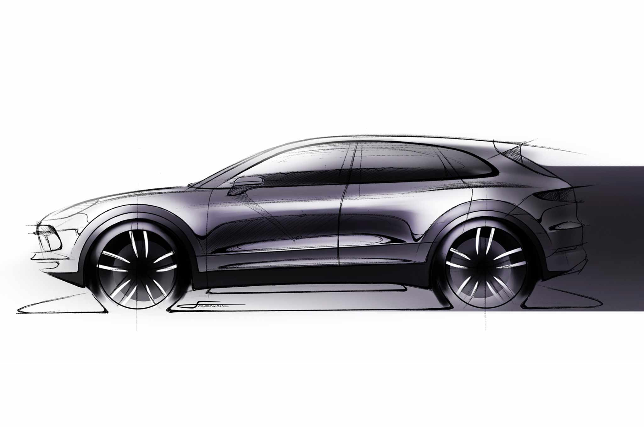 porsche cayenne teaser sketch reveals new suv s profile automobile magazine. Black Bedroom Furniture Sets. Home Design Ideas