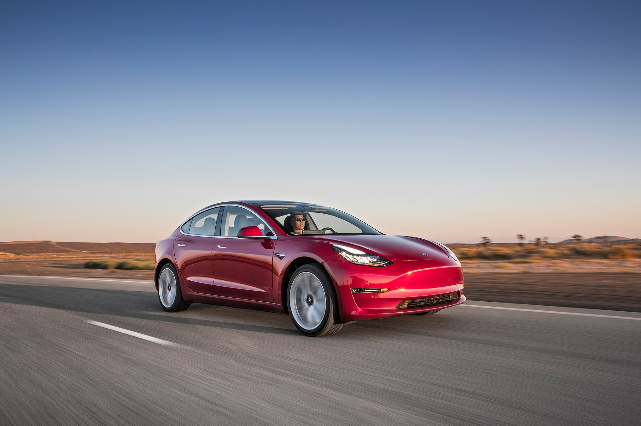 2017 Tesla Model 3 Front Three Quarter In Motion