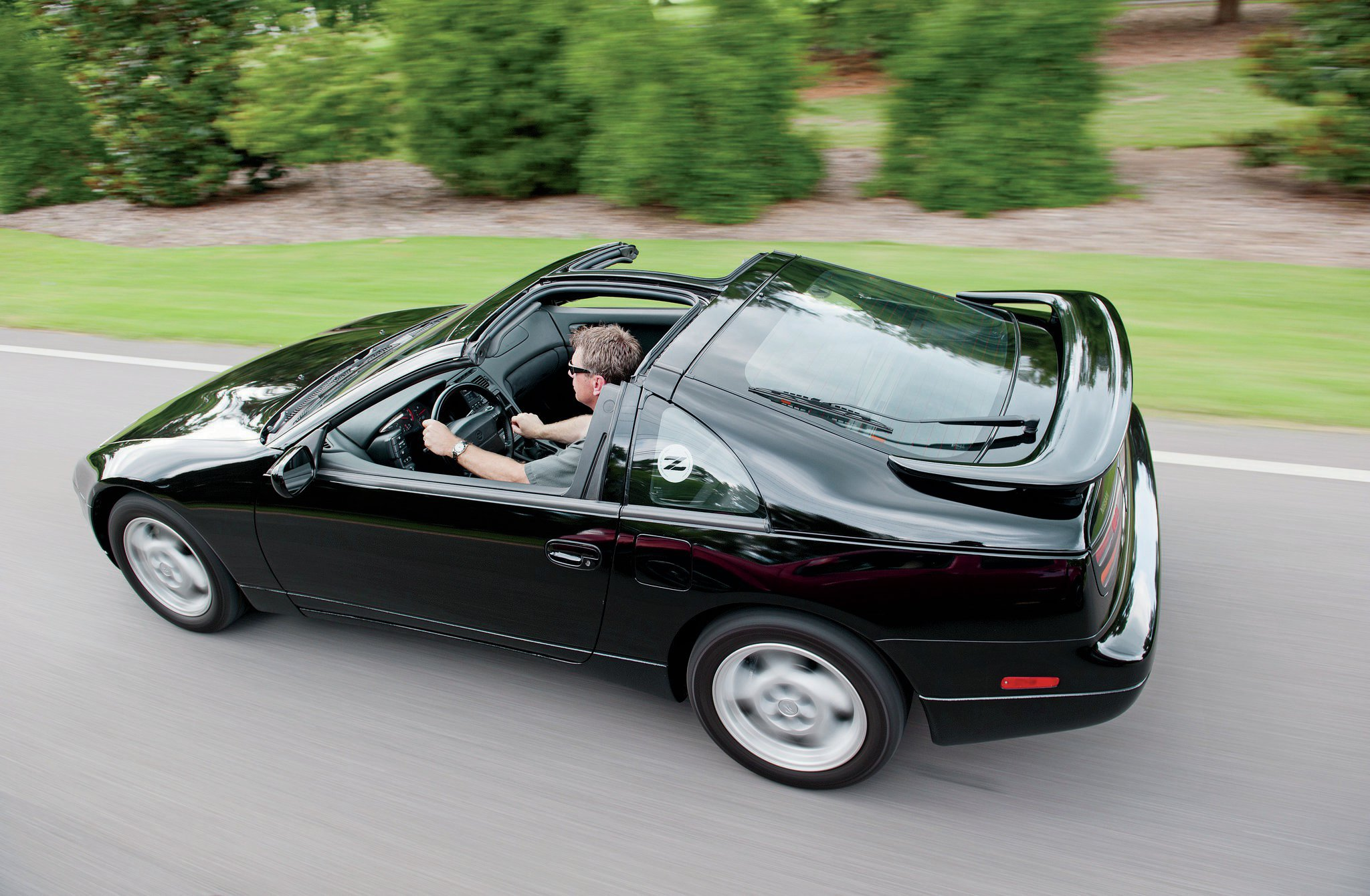 Superb 1990 1996 Nissan 300ZX Rear Above Three Quarter View In Motion