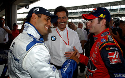 From opposite sides of the track, Juan Pablo Montoya (left) Jeff Gordon prepare to trade paint.
