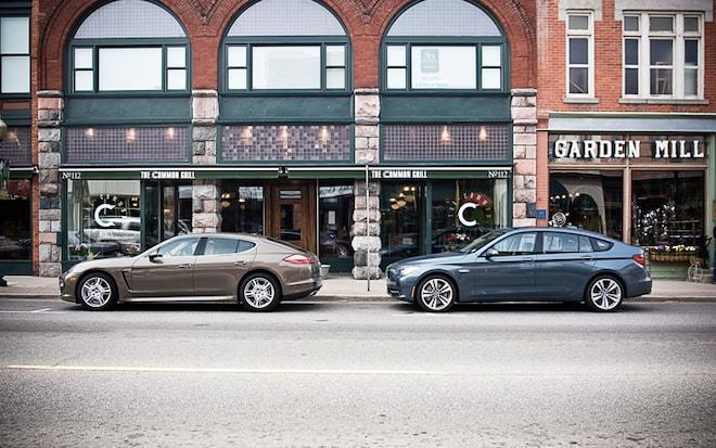 1004 39 BMW 550i Gran Turismo And Porsche Panamera S Side View