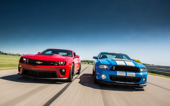 2012 Chevy Camaro ZL1 Vs 2013 Ford Shelby GT500 Front View 21