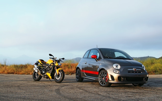 Fiat 500 Abarth And Ducati Streetfighter 848 Front Right View