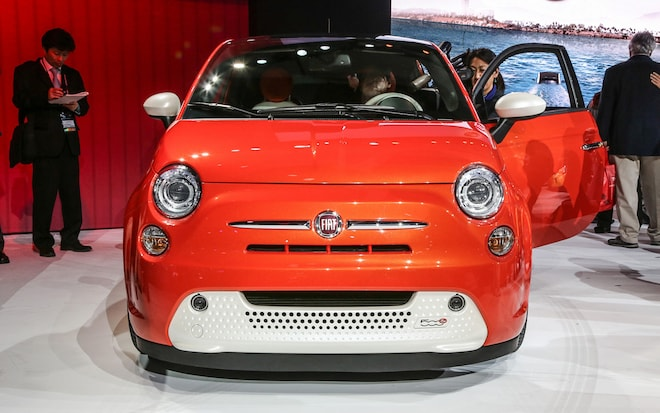 fiat 500e efficiency, range higher than ford focus ev, nissan leaf