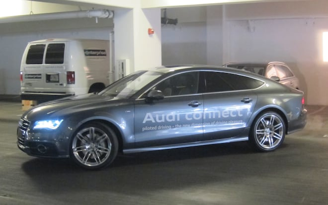 CES Audi Demonstrates SelfParking SelfDriving Features - Audi self parking