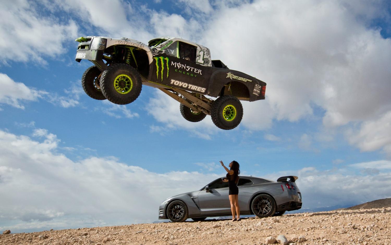 Watch B.J. Baldwin Jump a Nissan GT-R With A Trophy Truck