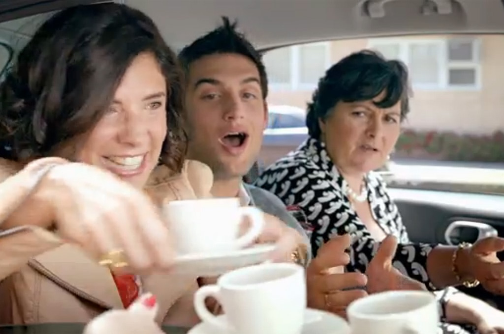 Fiat 500L Backseat Italians Drinking Espresso1