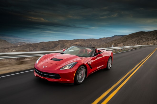 2014 Chevrolet Corvette Stingray Convertible Red Front End In Motion 05