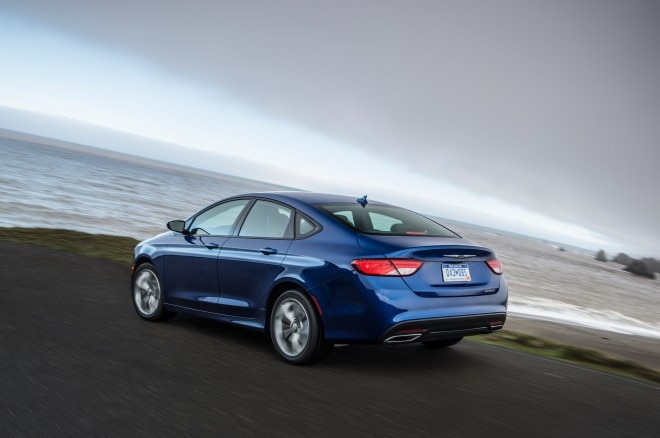 2015 Chrysler 200S rear three quarter in motion1