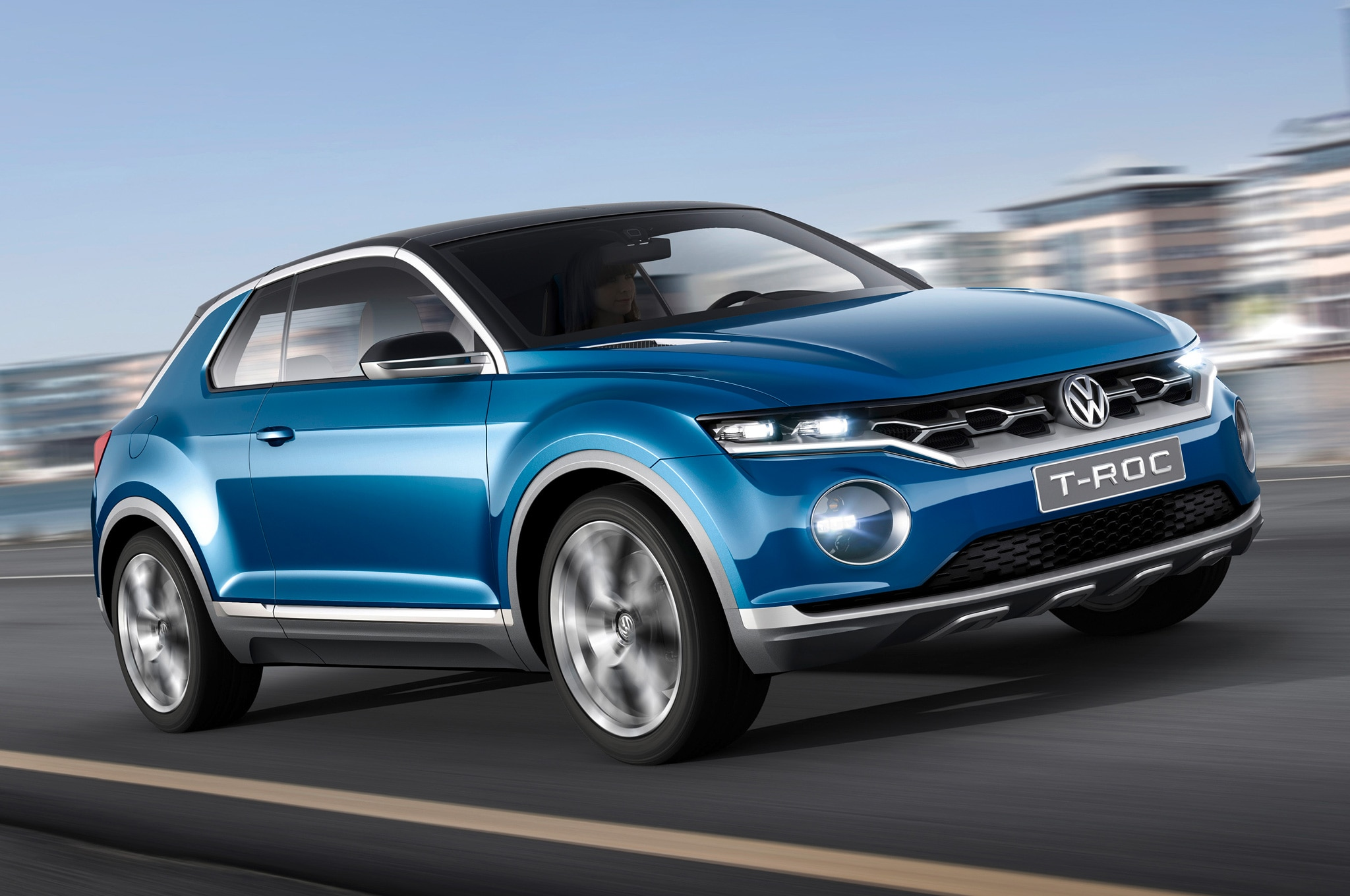 Volkswagen T ROC Concept Front Side Motion View1