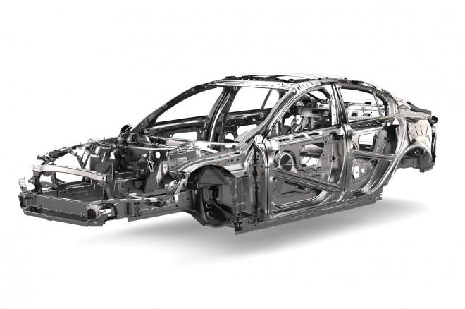 jaguar xe aluminum chassis front three quarter