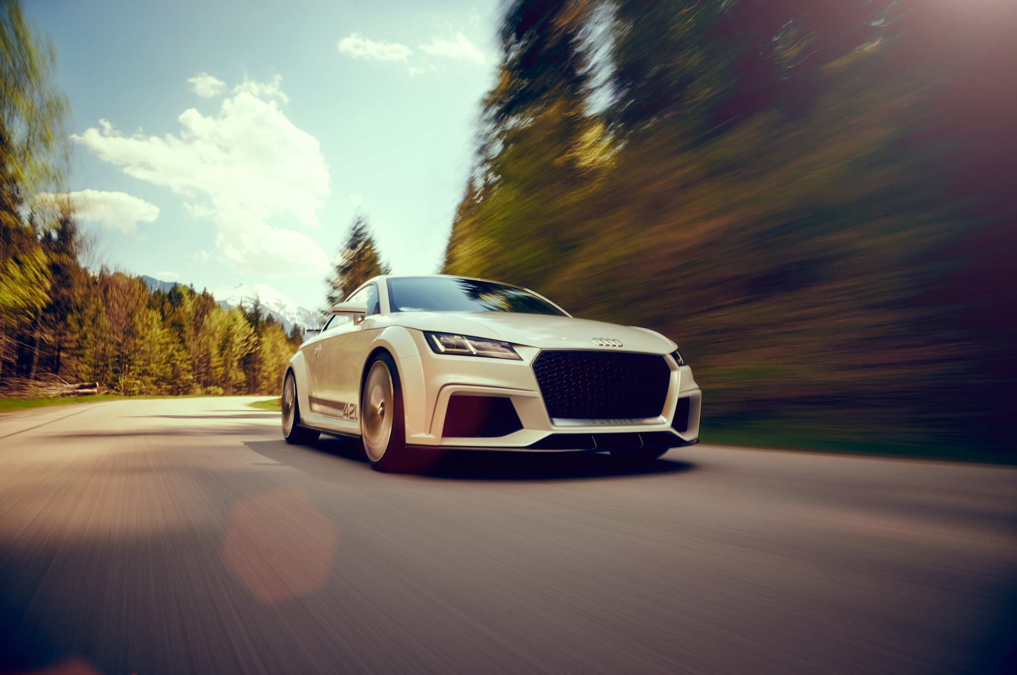 Audi TT Quattro Sport Concept Front View In Motion From Asphalt