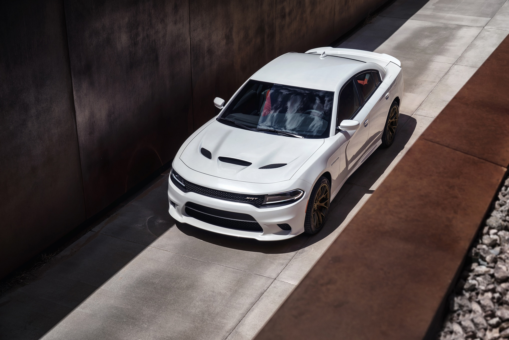 2015 Dodge Charger SRT Hellcat Front Three Quarters Top View2