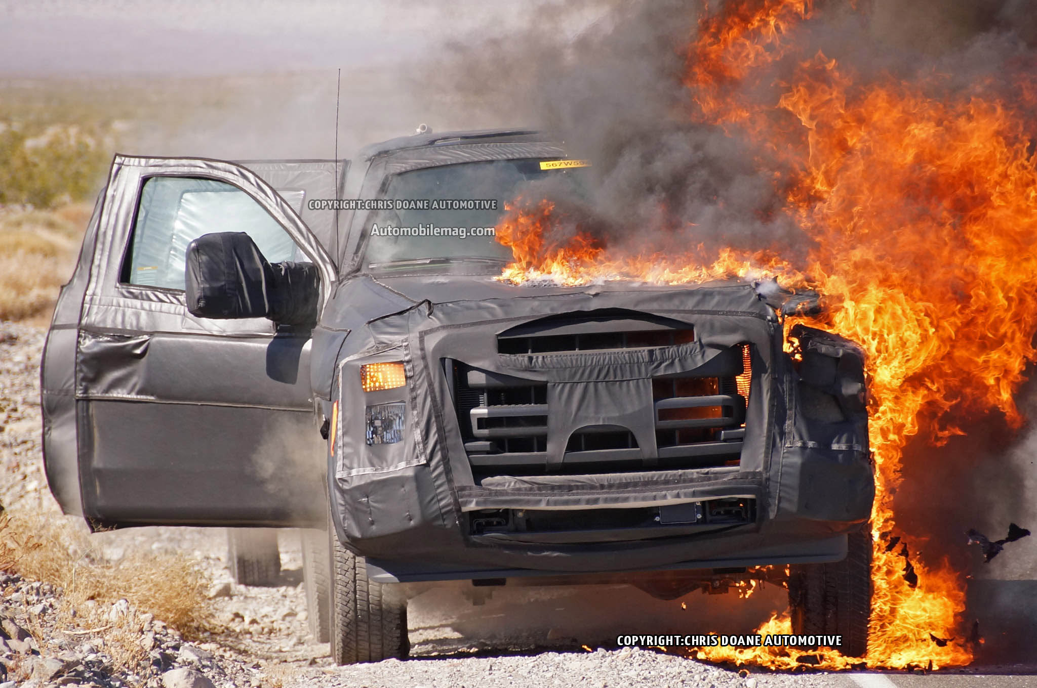 2016 Ford F Series Super Duty Prototype Catches Fire Burns In Desert