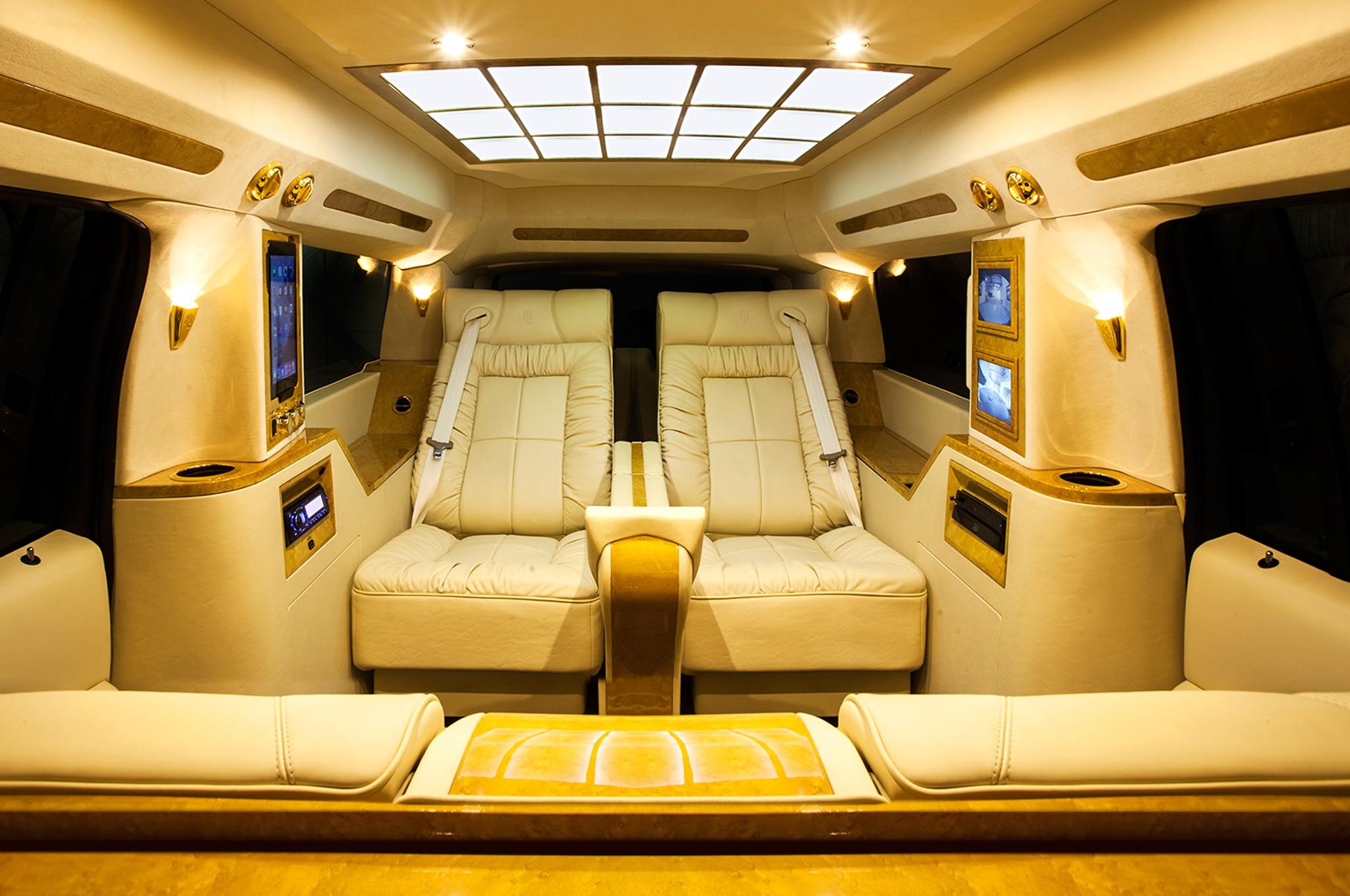 2015 Cadillac Escalade ESV Conversaion Luxury Coach By Lexani Rear Interior Seats 021