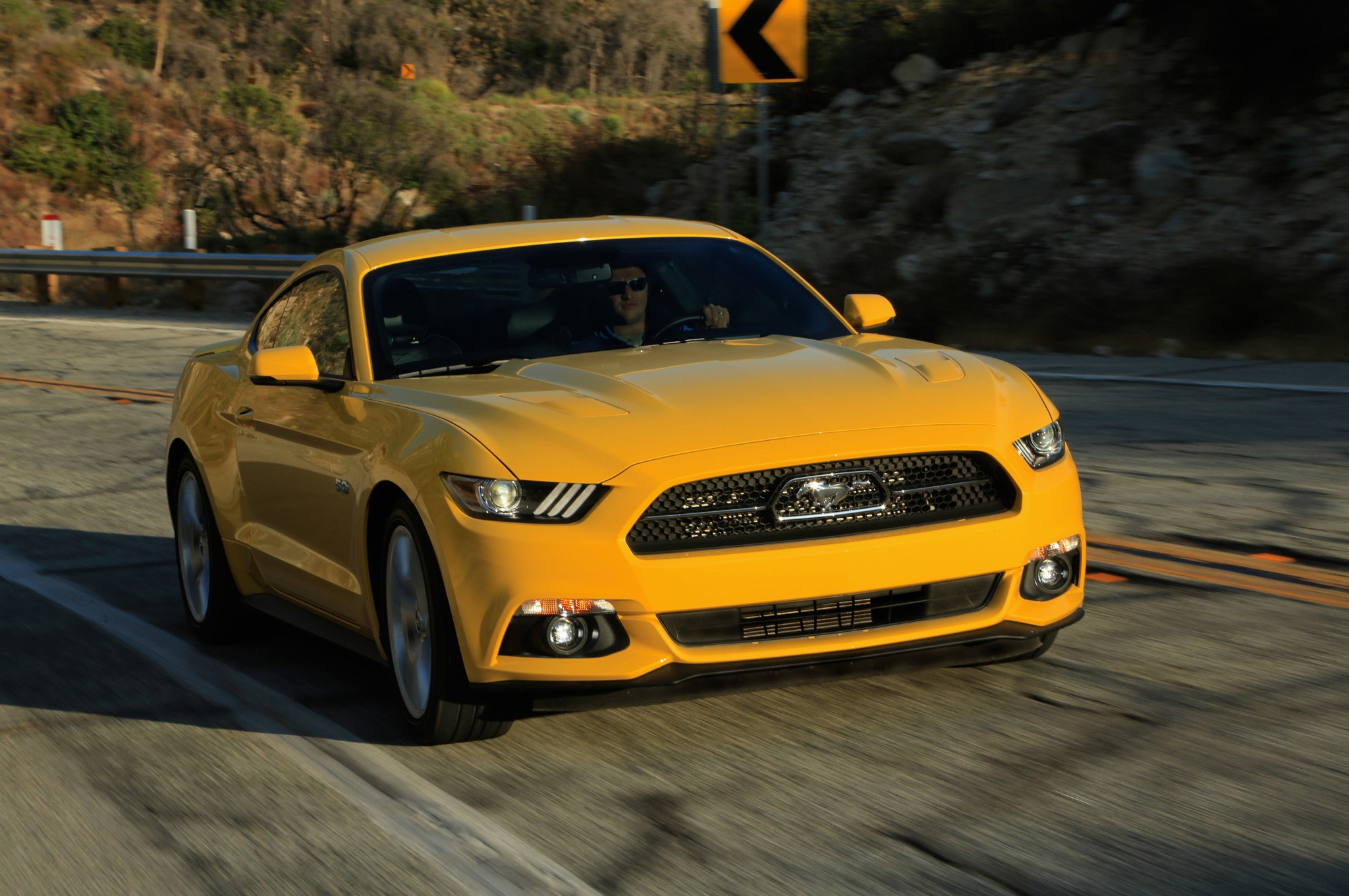 2015 Ford Mustang GT Front Three Quarter In Motion