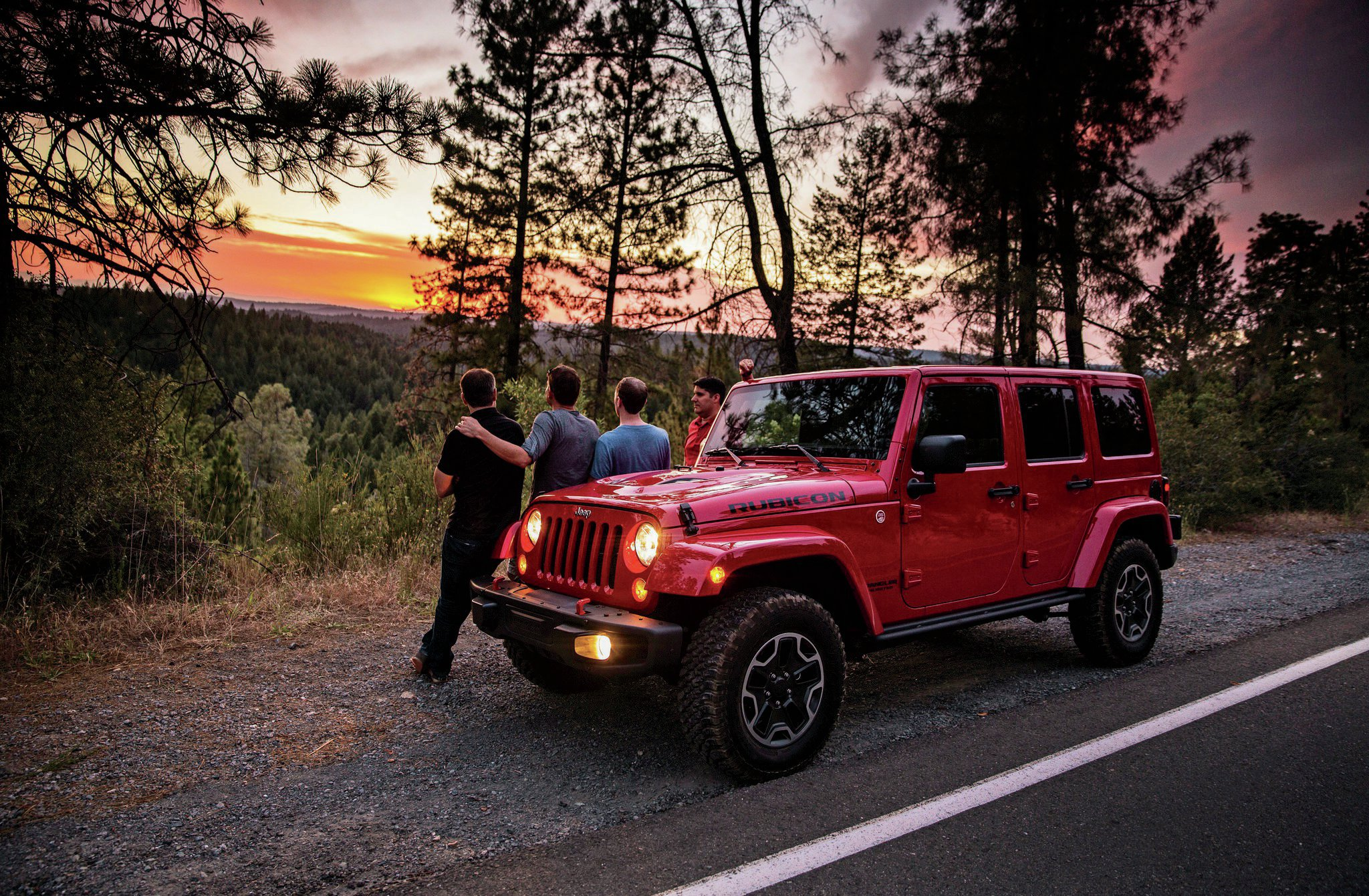 Boys Weekend Jeep Wrangler Rubicon Red Jeep And Sunset