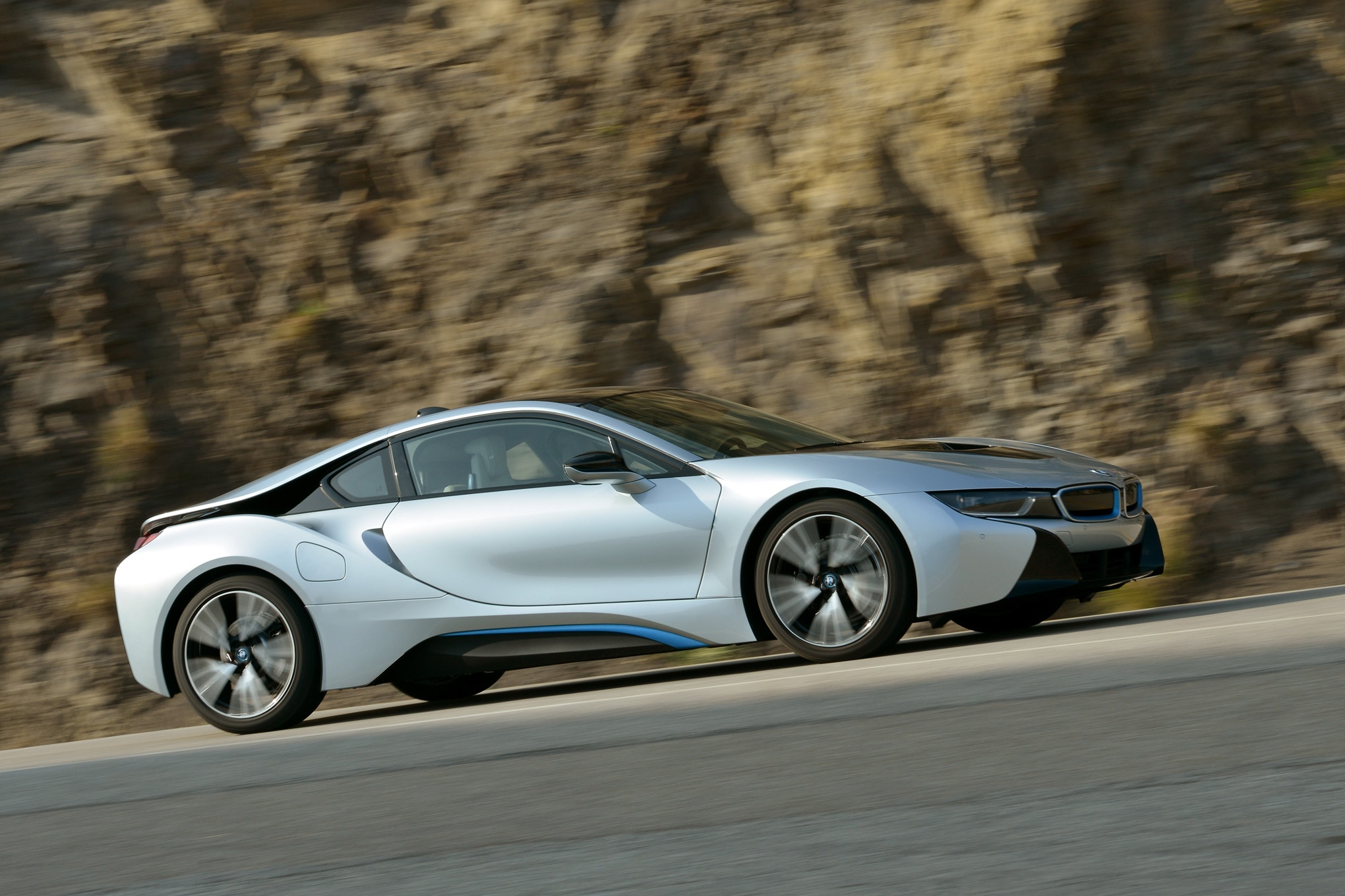 2014 BMW I8 Side Profile In Motion