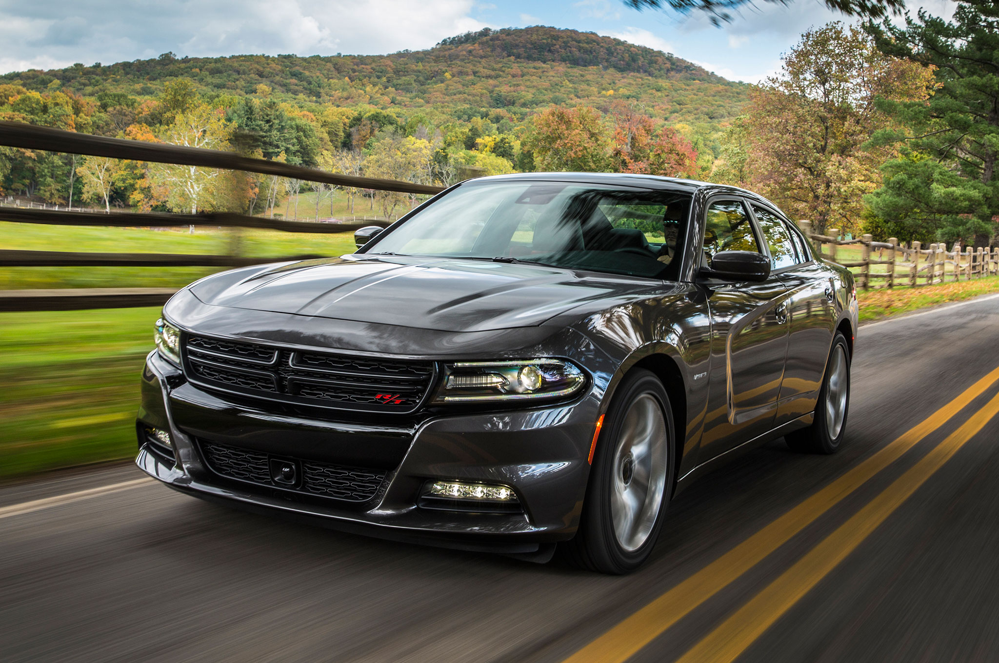 2015 Dodge Charger RT Front Three Quarter View In Montion 11