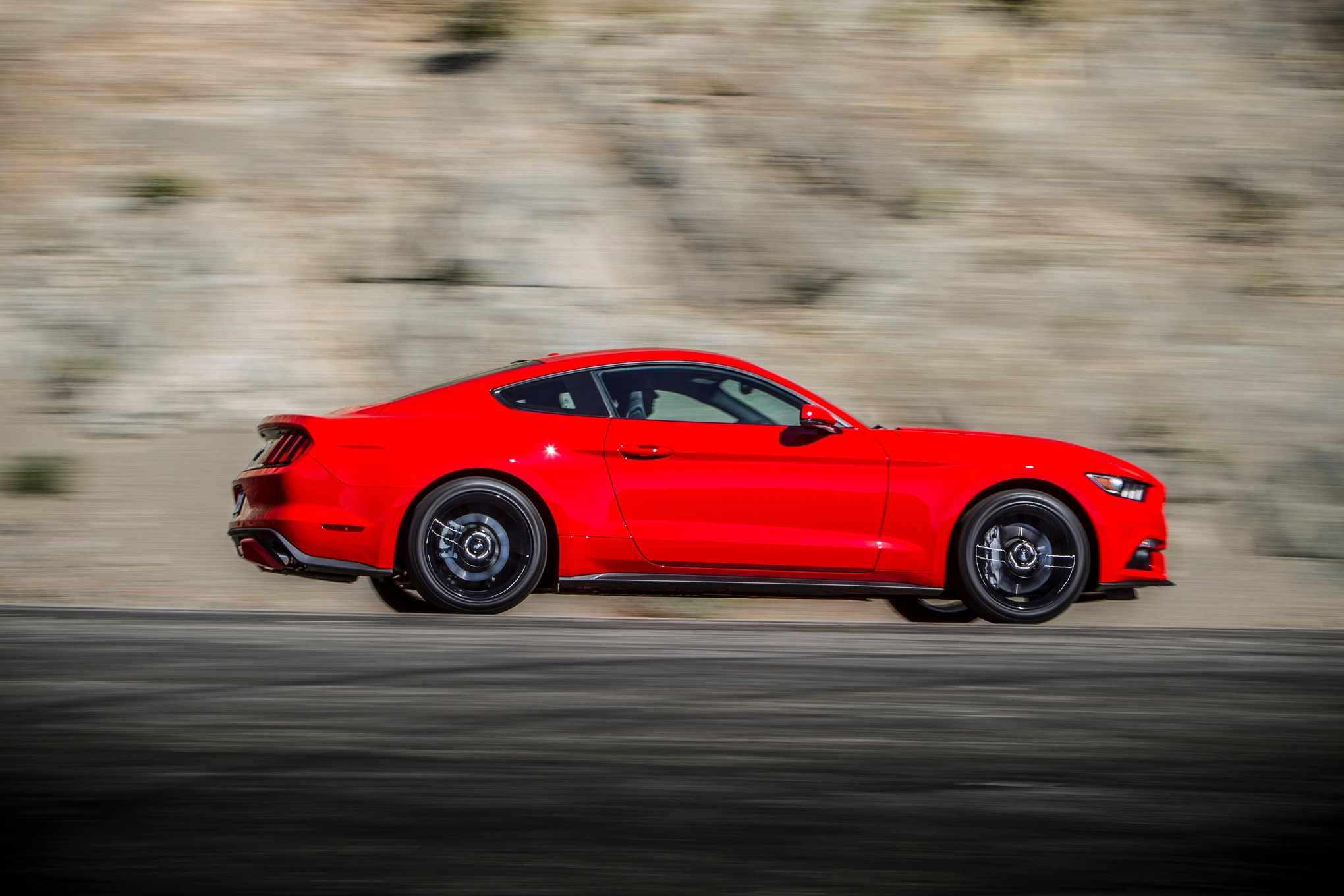 2015 Ford Mustang Ecoboost Side In Motion 05