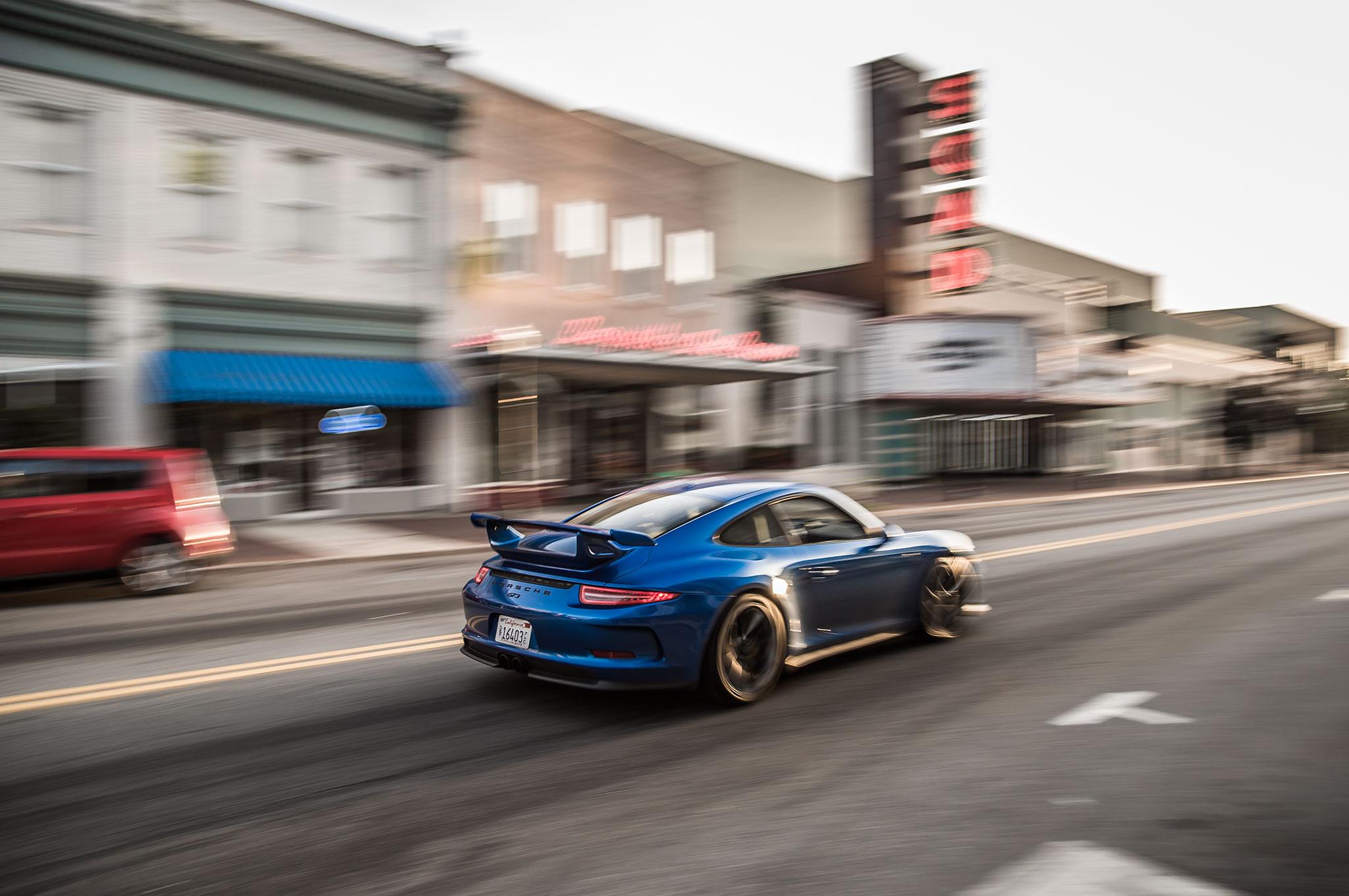 2015 Porsche 911 GT3 Rear Three Quarter Blurred Storefronts