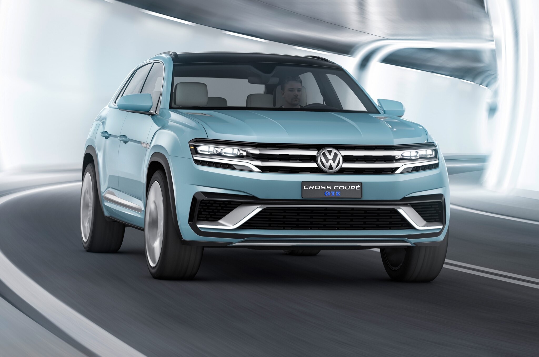 Volkswagen Cross Coupe GTE Concept Front View In Tunnel
