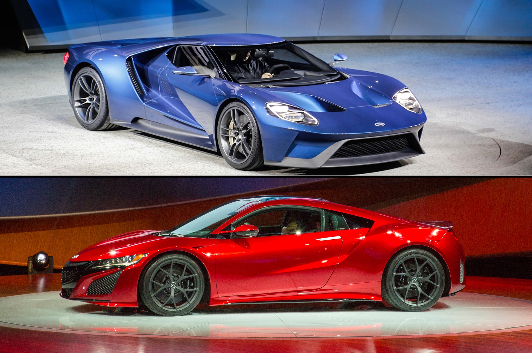 Ford Gt And Acura Nsx Front Three Quarters