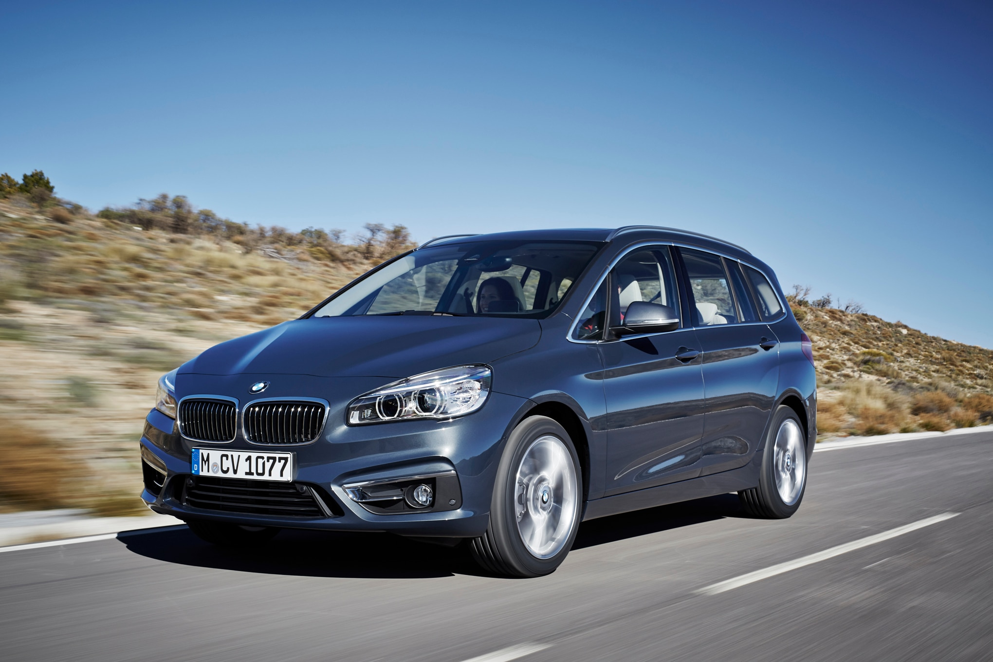 BMW 220d XDrive Gran Tourer Front Three Quarters In Motion 03