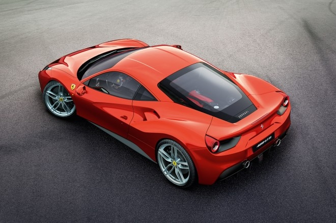 ferrari 488 gtb rear three quarters from above