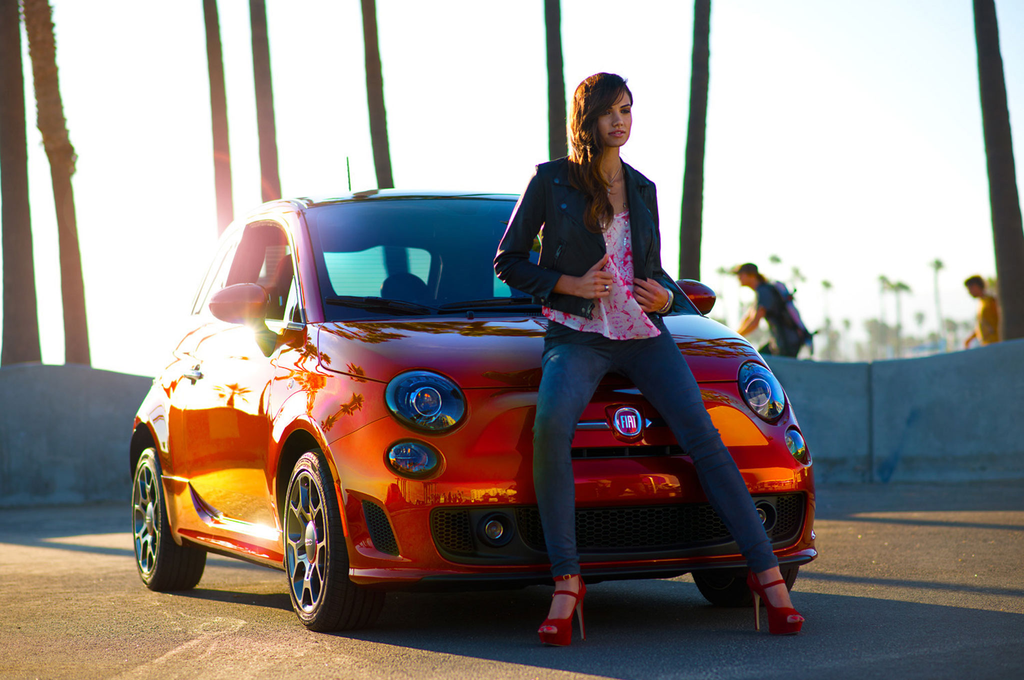 2013 Fiat 500 Turbo Cattiva Front With Weird Girl