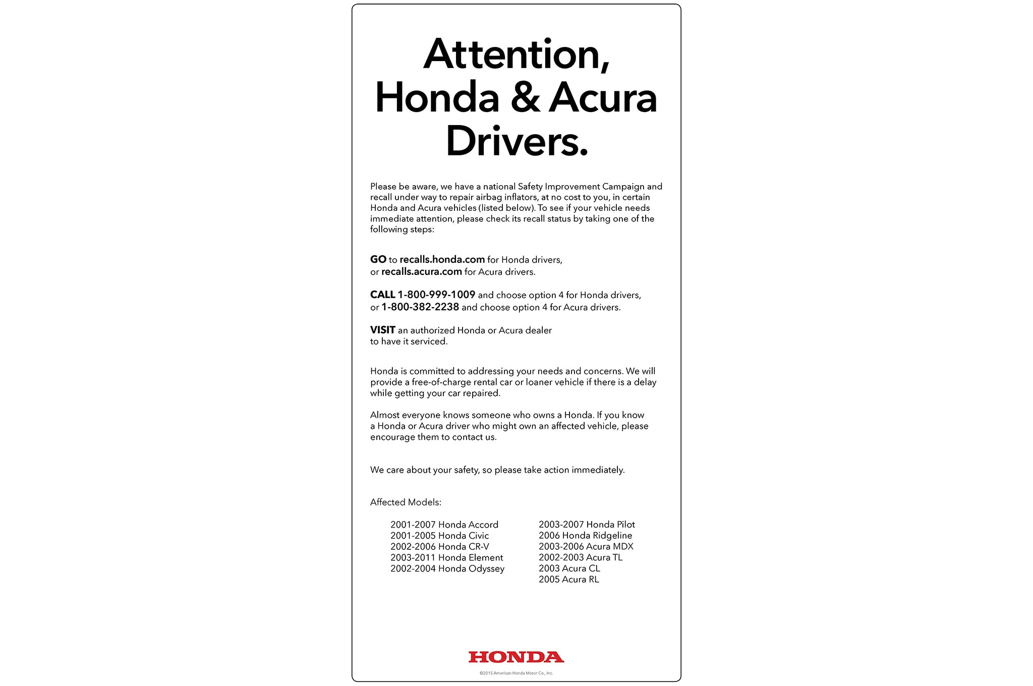 honda launches ad campaign to encourage airbag recall repairs