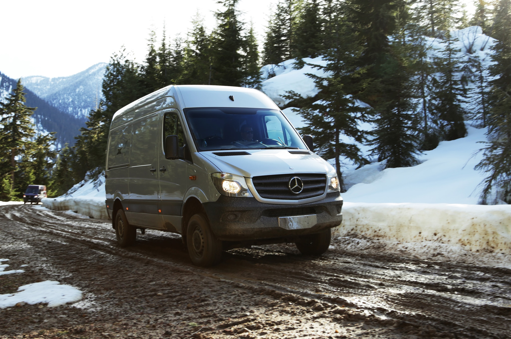 2015 Mercedes Benz Sprinter 4x4 Front Three Quarter In Motion 09