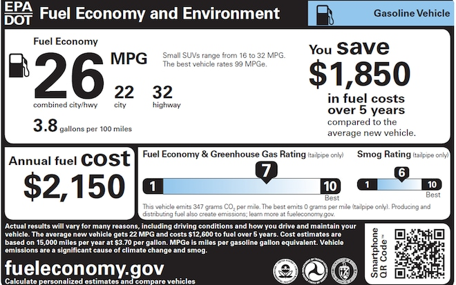 2013 Epa Window Sticker Gasoline
