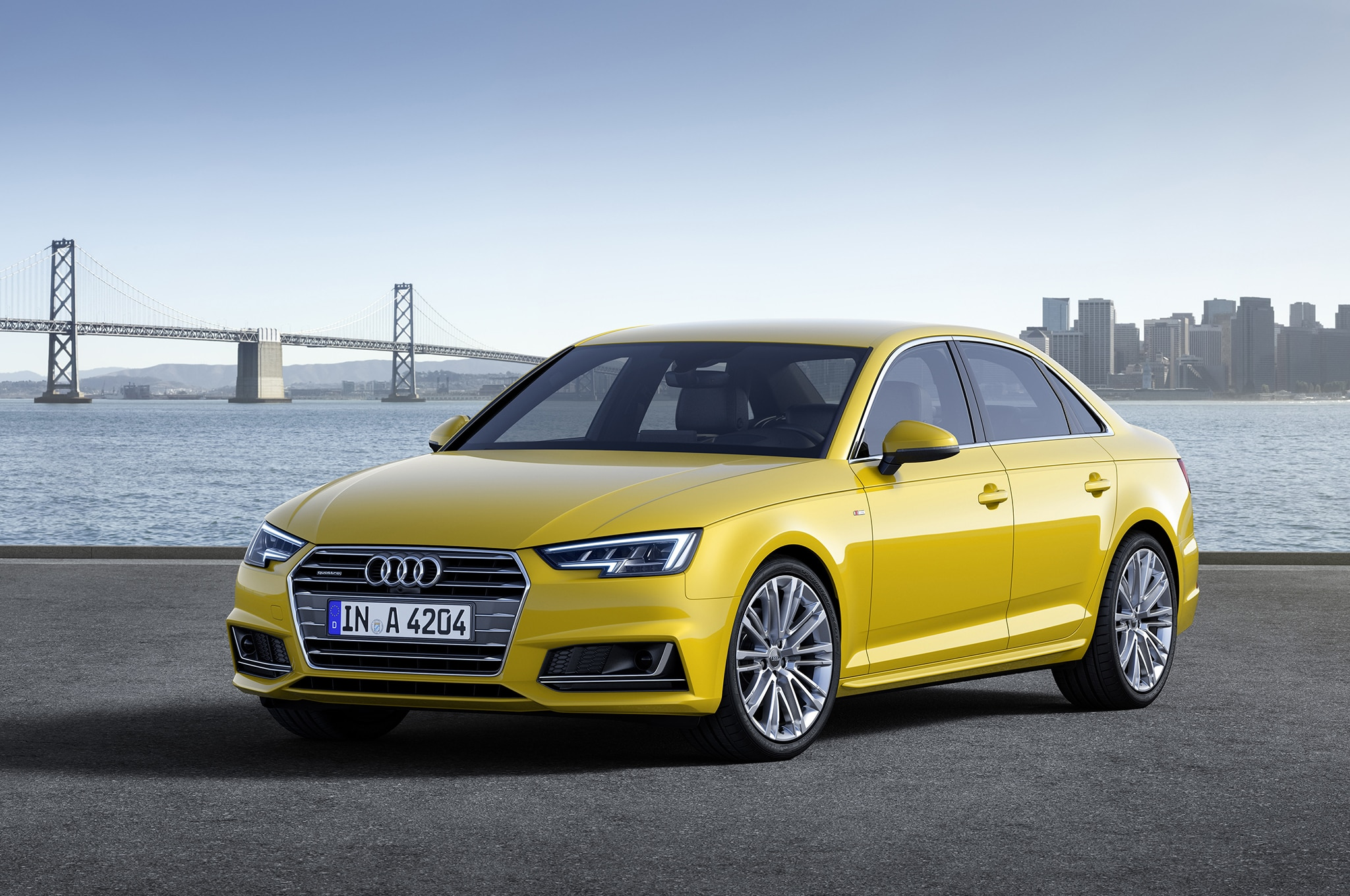 2017 Audi A4 Front Three Quarters Yellow Static